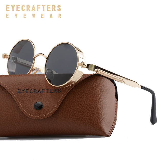 30e9372557 Brown Metal Polarized Sunglasses Gothic Steampunk Sunglasses Mens Womens  Fashion Retro Vintage Side Shield Eyewear Shades