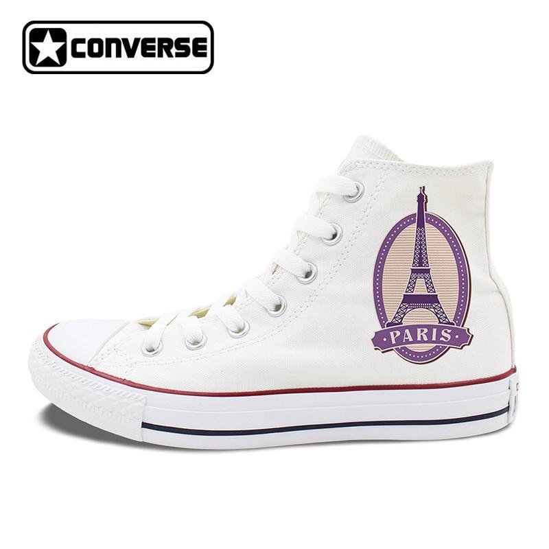Paris Eiffel Tower Postmark Design Converse Canvas Sneakers Chucks Taylor Man Woman High Top Skateboarding Shoes paris in fifty design icons
