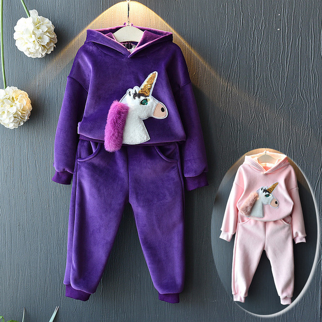 Baby Girls Children Hoodies Winter Velvet Sports Suits New 2019 Cartoon Jackets Sweater Coat And Pants Thicken Kids Clothes Sets