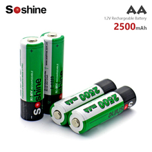 Soshine 4Pcs 1.2V 2500mAh NI MH AA Pre-Charged Rechargeable Batteries Ni-MH aa Battery For Toys Camera Microphone