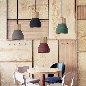 Image 5 - Кантри стиль цемент светодиодный подвесной светильник 120 см провод E27 розетка подвесной светильник дерево украшение дома кухня подвесной светильник ZDD0023