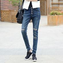XS-6XL Плюс размер Осень новой Корейской версии женщин Эластичность карандаш брюки Почесал hole большой размер Досуг джинсы w1725