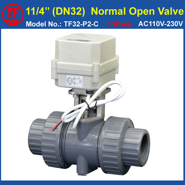 TF32-P2-C PVC DN32 Normal Open Valve 2 Way BSP/NPT 11/4'' AC/DC9-24V 5 Wires With Signal Feedback 10NM On/Off 15 Sec Metal Gear ac110 230v 5 wires 2 way stainless steel dn32 normal close electric ball valve with signal feedback bsp npt 11 4 10nm