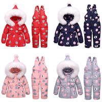 Baby Winter Overalls Snowsuit for Girls Duck Down Bowknot Polka Dot Hoodies Jacket and Jumpsuit Set Baby Winter Clothes Overalls