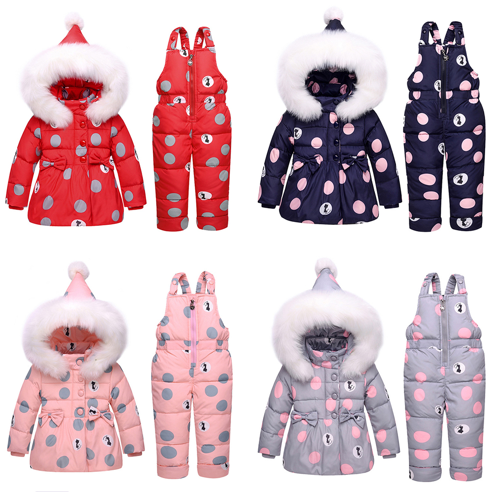 Baby Winter Overalls Snowsuit for Girls Duck Down Bowknot Polka Dot Hoodies Jacket and Jumpsuit Set Baby Winter Clothes Overalls цена