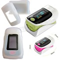 +White Rubber Case Finger Oximeter SPO2 PR Blood Oxygen Monitor Alarm&Beep Setting Protective Bag