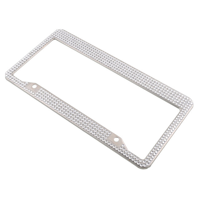 Stainless Steel Metal Noble Luxury White Bling Crystal License Plate ...