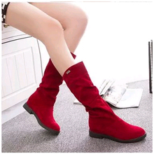 New Women Winter Snow Boots Fashion Suede Flat Warm Middle Tube Mid-Calf Boots Women Round Solid Slip-on Platform Boots Female цена 2017