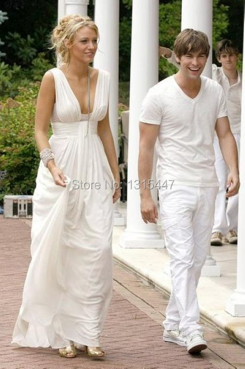 Blake Lively White Chiffon Party Dress Gossip Girl Fashion Celebrity Prom Gown1.1