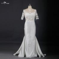 Sexy Backless See Through Corset Lace Mermaid Wedding Dress 2016 Satin Wedding Dress RSW739