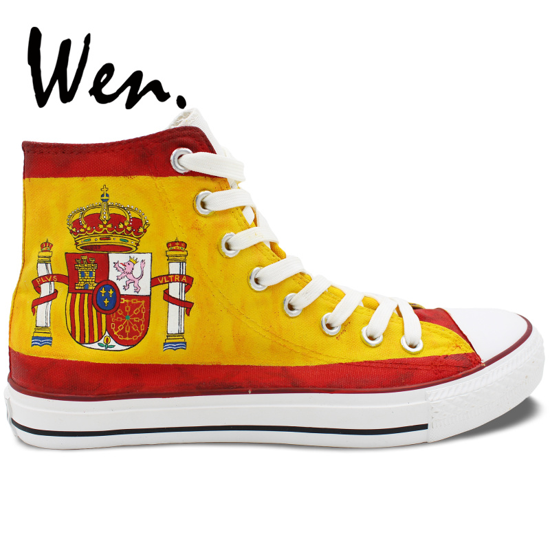 f71cf332f98085 Wen Hand Painted Canvas Shoes Design Custom Spain Flag Men Women s High Top  Canvas Sneakers Platform Plimsolls Gym Trainers-in Skateboarding from  Sports ...