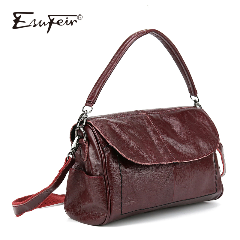 ESUFEIR Brand Genuine Leather Women Messenger Bag Shoulder Bag Luxury Handbags Women Bags Designer Crossbody Bag bolsa feminina genuine leather handbag 2018 new shengdilu brand intellectual beauty women shoulder messenger bag bolsa feminina free shipping