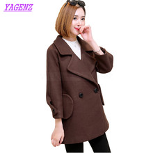 New Autumn Winter Woolen Jacket Women Korean Fashion Wool coat Young Women Solid color Double breasted High quality Overcoat 259