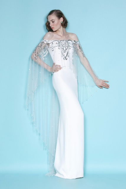 6d57042f1d Marchesa stretch Celebrity dress Bateau Short sleeve Floor length Evening  Dresses with tulle cloak Crystal Beaded