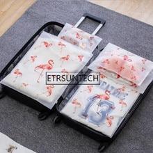 Transparent Plant Flamingo Cosmetic Bag Travel Makeup Women Zipper Make Up Organizer Stora