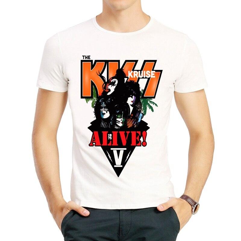 Rock Band BACIO T Shirt A Manica Corta di Colore Bianco Banda Bacio Vivo Gene Simmons Paul Stanley Eric Carr T-Shirt Top magliette tshirt