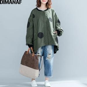 Image 2 - Dimanaf 2019 outono inverno mulheres polka dot casaco casaco tamanhos grandes cardigan com zíper roupas femininas solto oversized verde outerwear