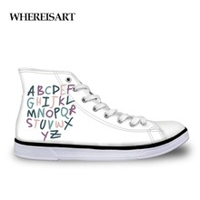 WHEREISART Colorful Letter Spring Summer High Top Sneakers Tenis Feminino Casual White Shoes Women Canvas Shoes Lace-Up Shoes