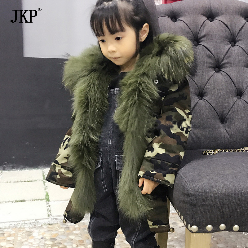 JKP 2018 Army Green Winter Children's Fox Fur Lining Coat Warm Thick-Soled Boys and Girls Fur Scorpion Fur Collar Kids Jacket цена