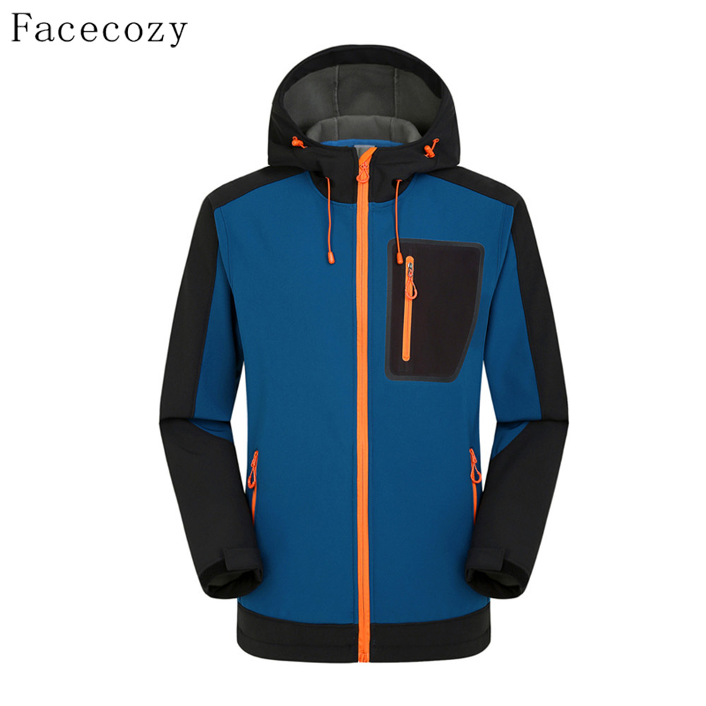 Facecozy Men Autumn Outdoor Softshell Jacket Winter Female Inner Fleece Windproof Hooded Thermal Camping Coat With Multi-Pocket