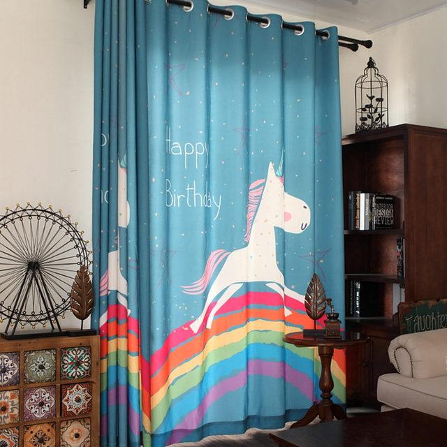 Nieuwe cartoon kinderen gordijnen mooie regenboog paard print kids ...