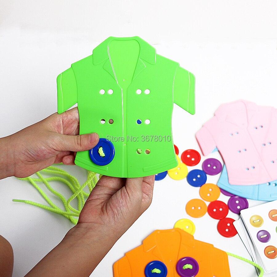 vestindo corda rosqueando montessori sensorial brinquedos educativos iniciais