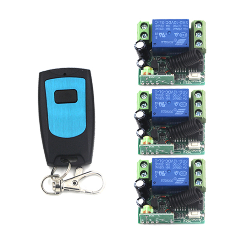 New DC 12v 10A relay 1CH channel wireless RF Remote Control Switch Transmitter and Receiver for Wireless system 4028 dc12v 10a rf remote control switch system 1ch 1 channel relay 3 x wireless receiver and 1x transmitter sku 5378