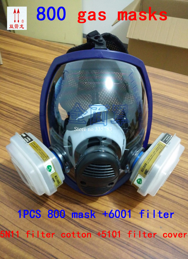 high quality Full Face Mask For 800 7pcs suit Gas Mask Full Face Facepiece Respirator For Painting Spraying 3m 6300 6003 half facepiece reusable respirator organic mask acid face mask organic vapor acid gas respirator lt091