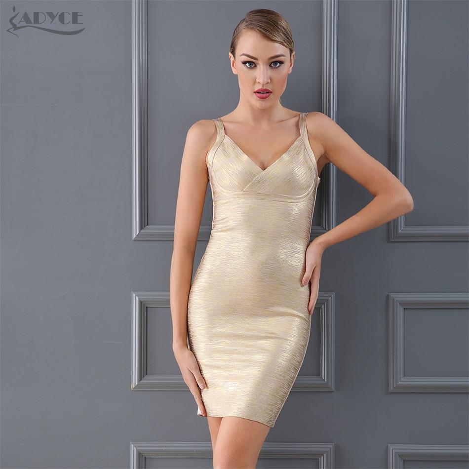 Adyce 2019 Summer Women Gold Bandage Dress Night Club V Neck Spaghetti Strap Bodycon Dress Celebrity
