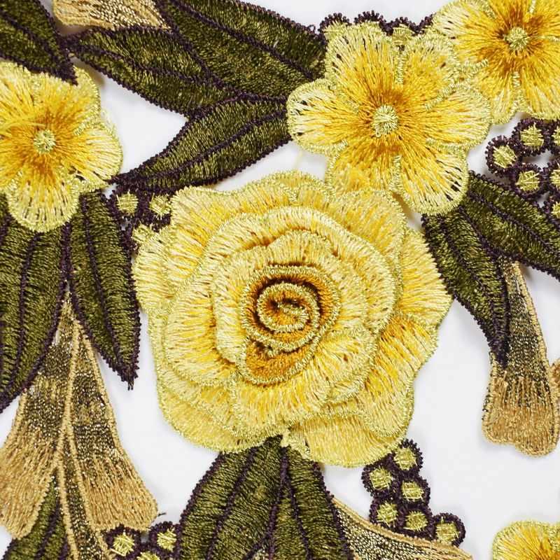 3 ピース/セットレース生地ドレスアップリケモチーフブラウス縫製トリム DIY ネック襟パッチ衣装の装飾アクセサリーパッチ