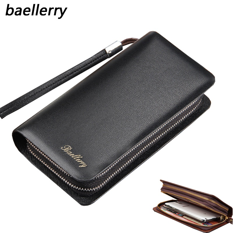 Baellerry Wallet Leather Man Long Clutch Male Bag For Men Purse Luxury Credit Card Holder Telephone Vallet Organizer Purses T035 men purse wallet brand baellerry big capacity long money cash bag portable clutch credit card holders purses carteira masculina