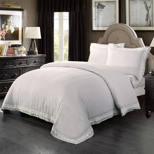 Washed 100% linen Luxury bedding set with  lace border including 1 duvet cover and 2 pillow sham