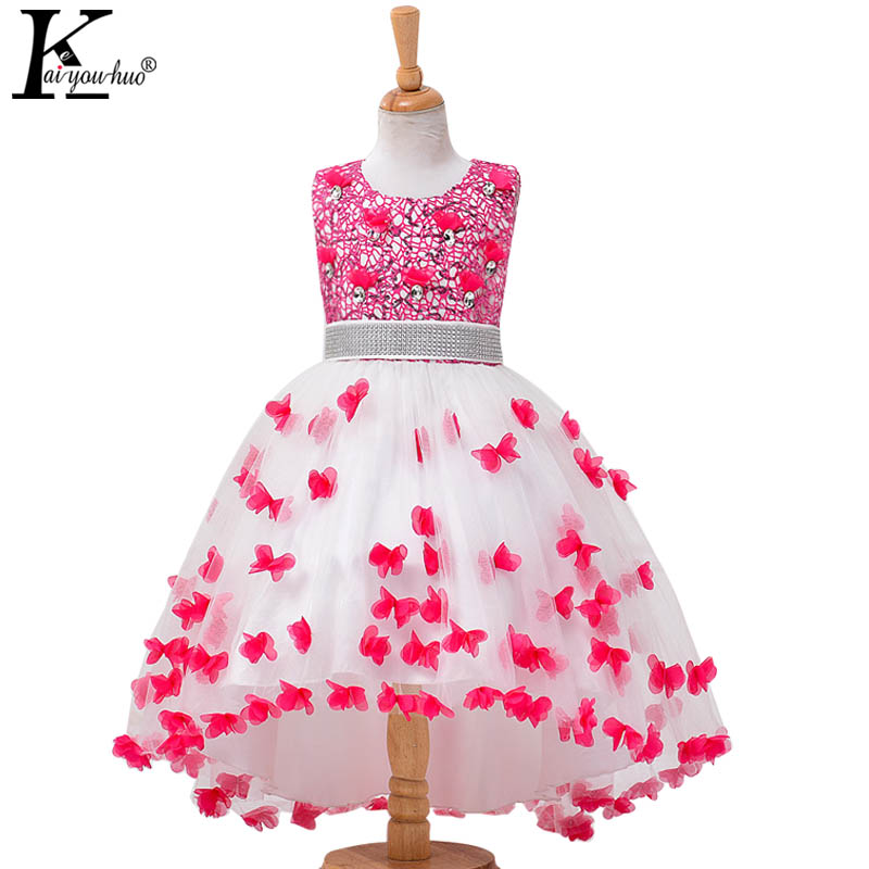 High Quality Vestidos Children Clothing New Girls Red Wedding Dress Summer Party Dresses For Kids Costume Flower Chiffon Clothes  high quality casual cotton striped dress for girls teenagers kids summer sleeveless soft vest vestidos children costume