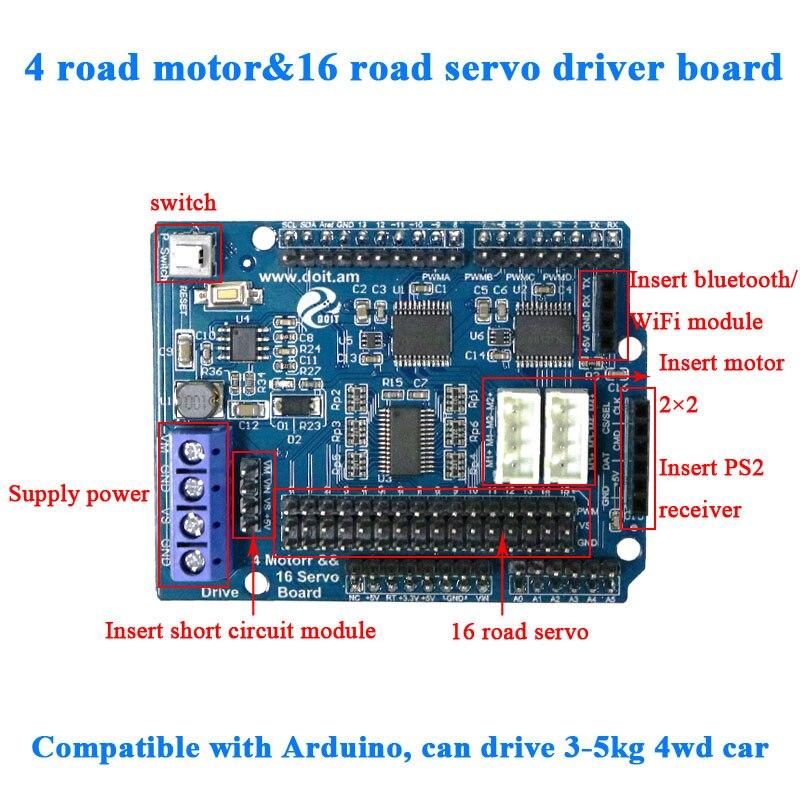 2ch 4ch DC Motor driver 16 way Servo Drive shield Board for Arduino 2wd 4wd RC Smart Robot Tank Car DIY robotic arm robotics