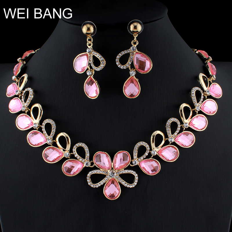 Glitz Glam Blue Diamontrigue Jewelry: WEIBANG Glamour Women Flower Necklace Earrings Set Pink