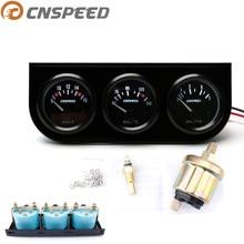 CNSPEED 52 мм 12 В автоматический тройной манометр, комплект, датчик температуры масла, вольтметр, датчик давления масла с датчиком, автомобильный манометр, Белый светодиодный