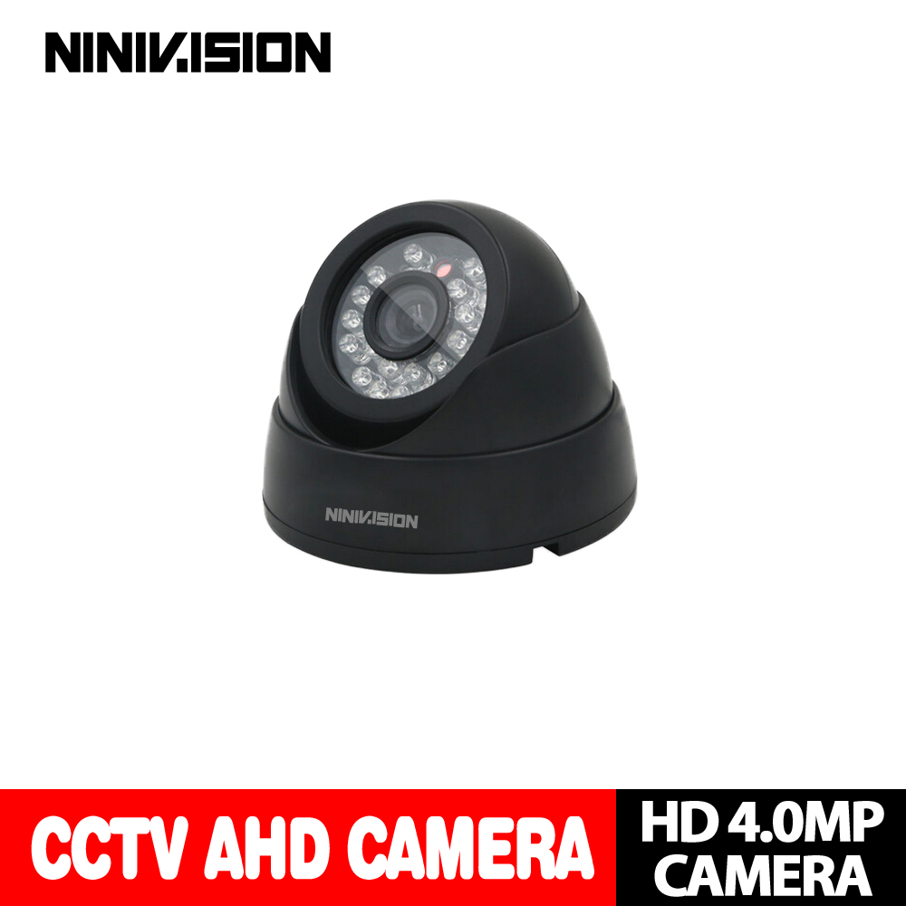 NINIVISION New Home Super 4MP HD AHD Camera Security CCTV Black Mini Dome 24LED infrared Night Vision Surveillance Camera System give 2a power hd 1 3sony effio e ccd 700vl security surveillance dome cctv camera osd meun blue 24led hd night vision vidicon