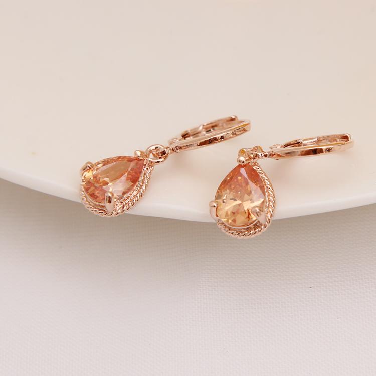 Gold Color Earrings Green Water Drop CZ Stone Pierced Dangle Earrings Women/Girls Long Drop Earrings fashion jewelry 16