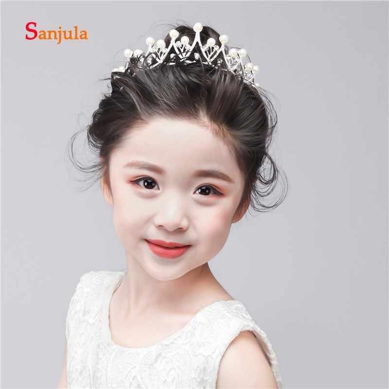 Маленькая принцесса цветок Девушки Корона для свадебной вечеринки аксессуары для волос с жемчугом половина тиары и короны Головные уборы для детей FA06