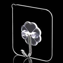 6Pcs Bearing 10KG Transparent Seamless Adhesive Hook Waterproof Strong Sticking Wall Hanger Kitchen Bathroom