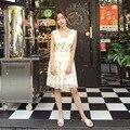 2016 de alta calidad de las mujeres del verano vestido Con Cuello En V sin mangas estrella bordado Con Lentejuelas de Malla de Vacaciones elegante Vestido midi vestidos