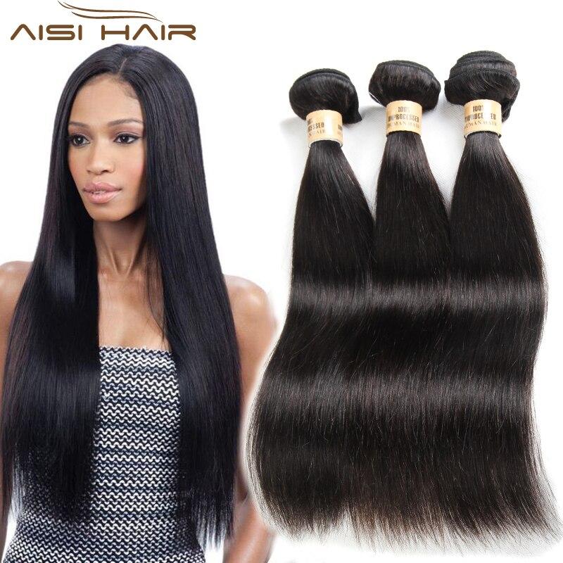 AISI HAIR Peruvian Virgin Hair Bundles Straight Human Hair Weave Bundles 1PC 3PCS 100% Unprocessed Human Hair