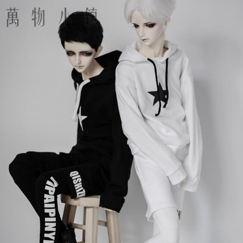 New uncle SD10 girl 1/3 boy 1/4 BJD Black/White Clothes Motion Suit Tops +Trousers (false Two pieces) new 10 1