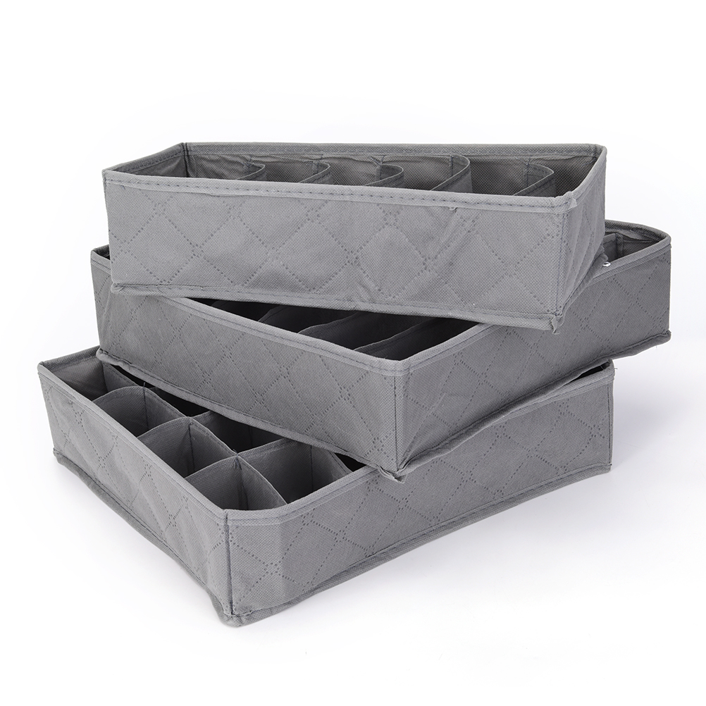 New 3pcs/lot 3 In 1 Bamboo Storage Box Container Drawer Divider Lidded Closet Boxes For Ties Socks Bra Underwear Organizer Hot