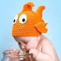 2016 pescado hecho a mano de lana cap niño sombrero del bebé del algodón traje disfraces de animales recién nacidos fotografía atrezzo bebé gorra de marca 55g