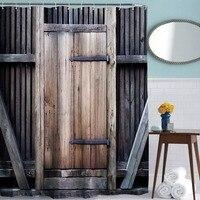 Bathroom Waterproof Fence Wooden Door Pattern Shower Curtain Digital Printing Polyester