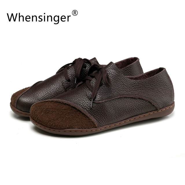 Whensinger 2016 New Arrival Women Genuine Leather Shoes Spring Autumn Flats Patchwork Lace-Up 2 Colors 8813