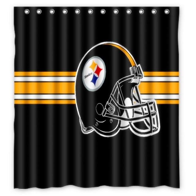 Vixm Home Pittsburgh Steelers Shower Curtains Movies Symbol Waterproof Fabric Bathroom 66x72 Inch