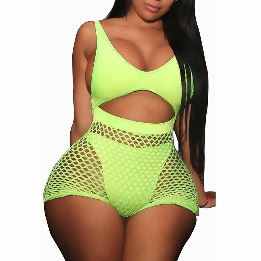Women Sexy Mesh Bodycon Leotard Romper Culbwear Crew Neck 2 Piece Jumpsuit Playsuit Bikini Cover Up Lingerie Set