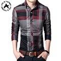 Los hombres Camisa A Cuadros Moda Camisas 2016 Nuevos hombres de la Llegada A Cuadros de manga larga Camisa Masculina Camisa Casual de Alta Calidad